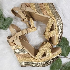 Mix No. 6 Brsided Gold Strappy Wedges